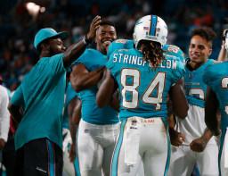 Teammates celebrate Miami Dolphins wide receiver Damore'ea Stringfellow's (84) touchdown, during the second half of an NFL preseason football game against the Atlanta Falcons, Thursday, Aug. 10, 2017, in Miami Gardens, Fla. (AP Photo/Wilfredo Lee)