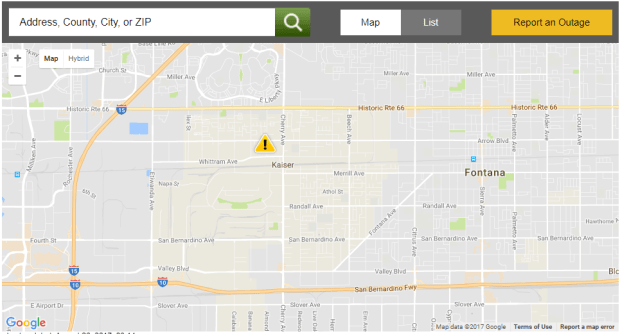 The power outage is affecting 3,041 Southern California Edison customers.