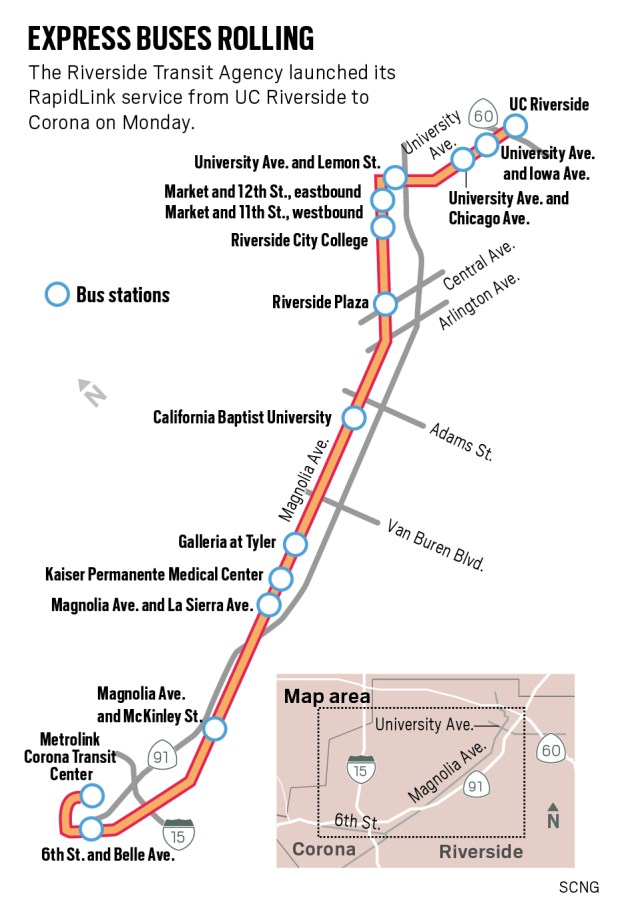 Riverside Transit Agency's RapidLink service runs from UC Riverside to Corona. (SCNG)