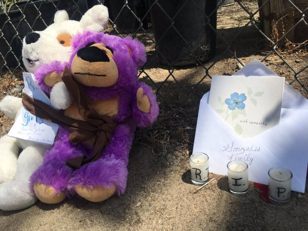 A memorial is set up Thursday, Aug. 24, 2017, outside the Bloomington home where two adults and two children were found dead after a fire. Authorities say one of the adults shot and killed his wife and his two daughters before shooting himself. The fire was intentionally set. Photo by Micah Escamilla, The Sun/SCNG