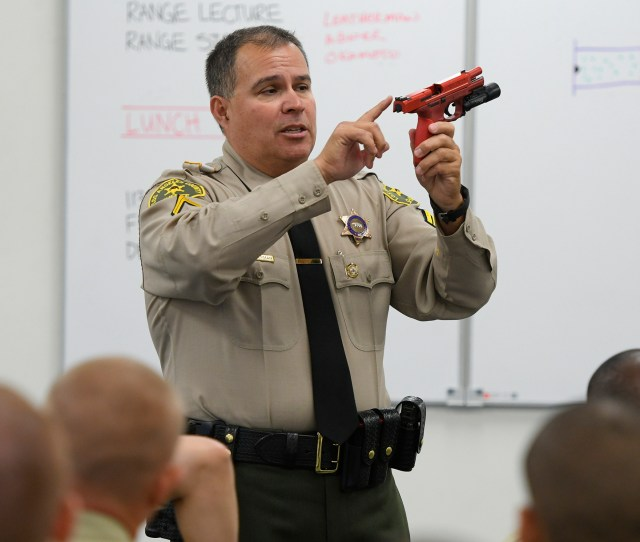 Deputy Lee Leatherman Teaches Sheriffs Academy Recruits During Classroom Weapons Training Los Angeles