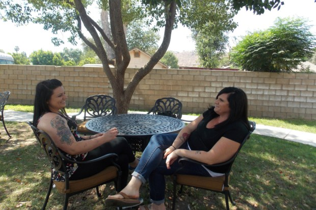 ANNA GORMAN — KAISER HEALTH NEWSBreann Johnson (left) and Brittany Stearns arrived at A Woman's Place in Riverside on the same day in May, both determined to get sober. The women, who are both on Medi-Cal, are making plans to go to a sober-living facility after leaving the center.