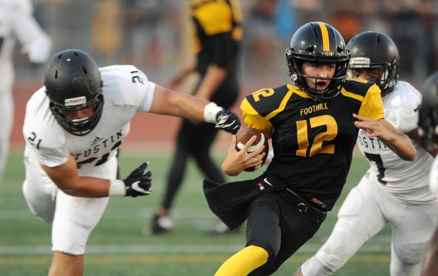 Foothill quarterback Andrew Dukus takes off on a keeper.Foothill High School played Tustin High School in a football game at Tustin High. in Tustin, CA on Friday, September 1, 2017. (Photo by Bill Alkofer, Orange County Register/SCNG)