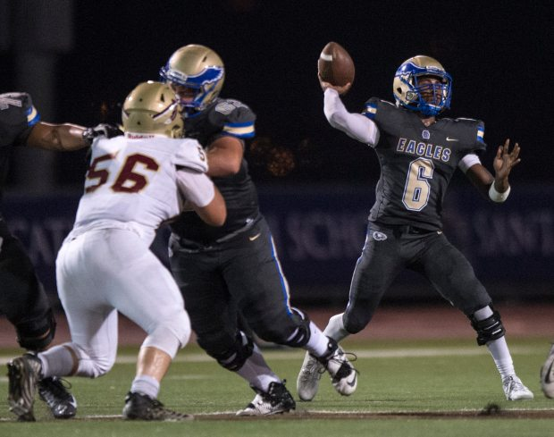 Santa Margarita's Josiah Norwood throws a pass during a game against Alemany at Laguna Hills High School in Laguna Hills on Thursday, September 7, 2017.(Photo by Kyusung Gong, Orange County Register/SCNG)