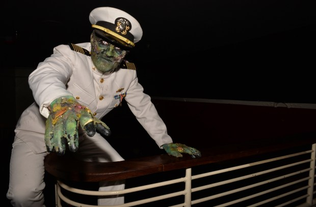 "The Queen Mary's Dark Harbor returns with new characters and mazes this year. This will be your captain as you embark on the scare and enjoy the ""feast."" The event runs September through November 1, 2017. Long Beach August 31, 2017. Photo by Brittany Murray, Press Telegram/SCNG"