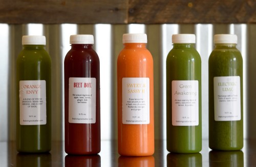 The Living Root Cellar specializes in cold-pressed juices, along with vegan food, smoothies and desserts. New owners Sam and Ashleigh Benavides purchased The Living Root Cellar earlier this year and are celebrating the grand reopening Sept. 10-29, 2017. (Photo by John Valenzuela/Redlands Daily Facts/SCNG)