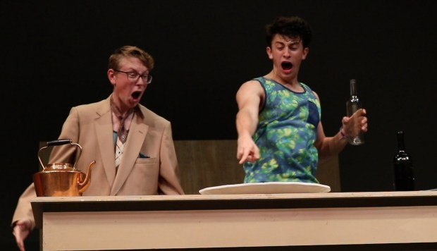 "Jack Sennett, left, as Stanley Stubbers and Matt Klimper as Francis Henshall rehearse for Citrus Valley High School's September 2017 production of ""One Man, Two Guvnors."" (Courtesy Photo)"