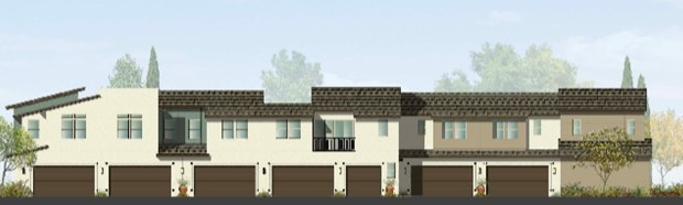 The reverse side of the Azure homes being built in Rancho Mission Viejo. The smallest units have one-bedroom, 707 square feet with a one-car garage. (Courtesy of The New Home Co.)