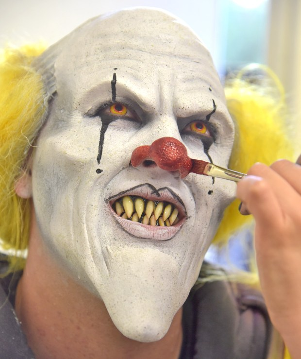 "Six-year Fright Fest veteran, Cole Porter, gets his final touches as 43 makeup artists apply makeup to the 500 ""scare-acters"" on hand at the Six Flags Fright Fest opening night at Six Flags Magic Mountain in Valencia on Saturday Sept. 16, 2017. The prosthetic application makeup for one hundred of the characters takes on average one hour to apply each night. (Dan Watson. Contributing Photographer, Los Angeles Daily News/SCNG)"
