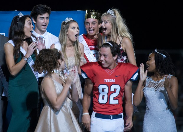 Tesoro Homecoming Queen Eve Devault reacts as she is announced as the winner during a halftime show at Friday's football game on September 15, 2017. (Photo By Jeff Antenore, Contributing Photographer)