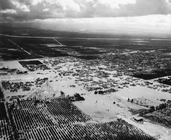 The 1938 storm dropped 8 inches of rain in the days leading up to March 3, when the Santa Ana River overflowed its banks. The storm affected the entire region, including Fullerton, Placentia and Los Angeles, but Anaheim was particularly hard hit. (Register file photo)