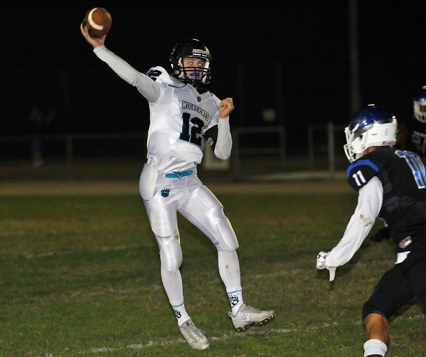 Aliso Niguel QB Kyle Robertson throws under pressure from Pacifica in a nonleague football game Friday, Sept. 22, 2017 at Bolsa Grande High.(Photo by Michael Fernandez, Contributing Photographer)
