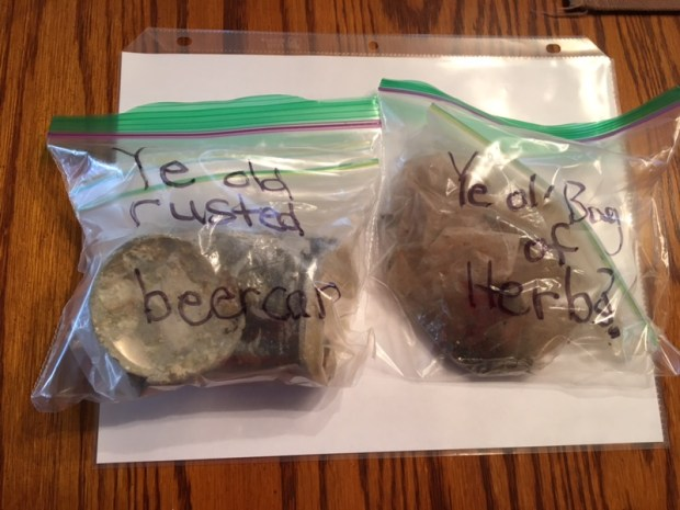 A baggie of marijuana and a beer can somehow got into the Tustin High Class of '72 time capsule. Photo courtesy of Kim DeBenedetto