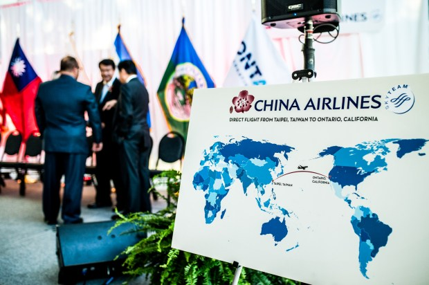 China Airlines representatives announce that the airline will launch nonstop service between Taiwan Taiyuan International Airport and Ontario International Airport in Ontario on Friday, Sept. 29, 2017. Terminal 2 will begin operations an inland hub by Spring 2018. (Photo by Watchara Phomicinda, The Press-Enterprise/SCNG)