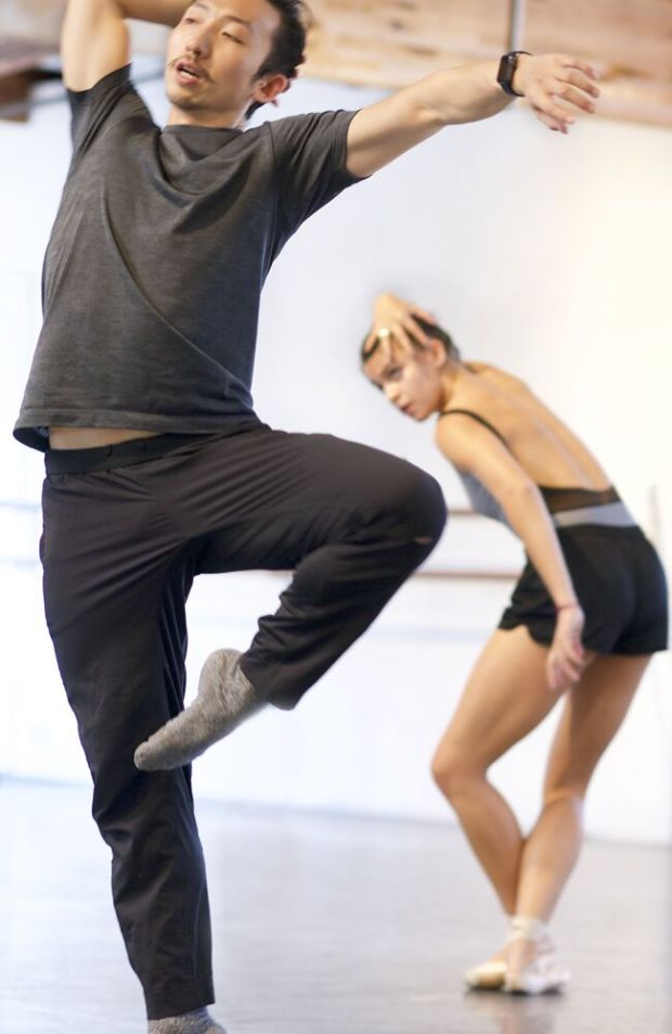 "Menghan Lou and dancer Leah McCall at rehearsals for ""This Is You,"" a world-premiere performance created by Lou for Los Angeles Ballet. Courtesy image"