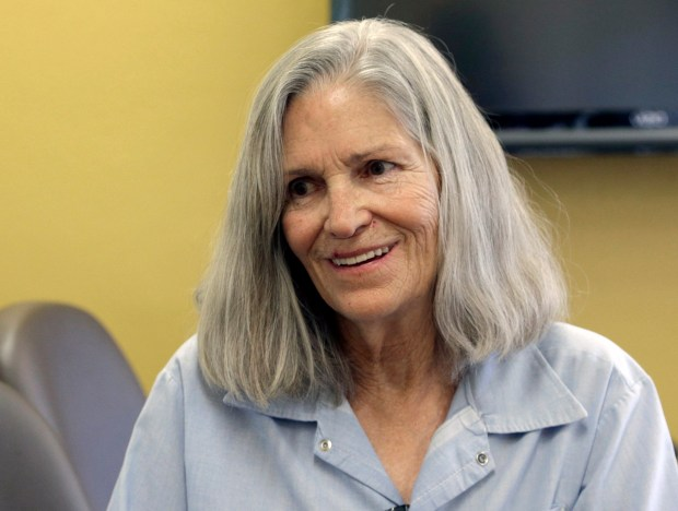 In this April 14, 2016 file photo, former Charles Manson follower Leslie Van Houten is shown during a break from her hearing before the California Board of Parole Hearings at the California Institution for Women in Chino, Calif. (AP Photo/Nick Ut, File)