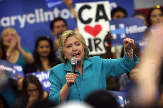 Then-Democratic presidential candidate Hillary Clinton speaks to supporters at May 2016 rally at UC Riverside.