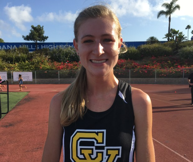 Capistrano Valley's Haley Herberg set a meet record while winning the Division 1 girls senior/invitational race at the Dana Hills Invitational. (Photo by Zach Cavanagh, Contributor)