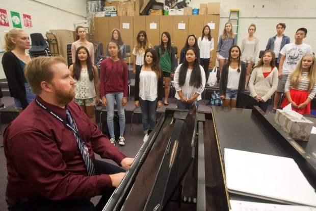 Justin Olvey teaches vocal music at University High School. (Photo by Drew A. Kelley, contributing photographer)