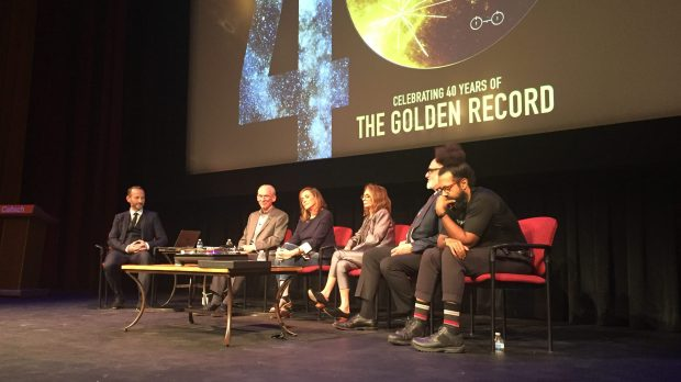"KCRW host Jason Bentley speaks with Ed Stone, Voyager's project scientist; Ann Dryuan, creative director of the Golden Record project; Lynda Obst, producer of ""Interstellar;"" David Pescovitz, co-producer of the first vinyl release of the Golden Record; and musician Reggie Watts, at Caltech's 40th anniversary panel for the Voyager mission. (Photo by Jason Henry, Pasadena Star-News/SCNG)"