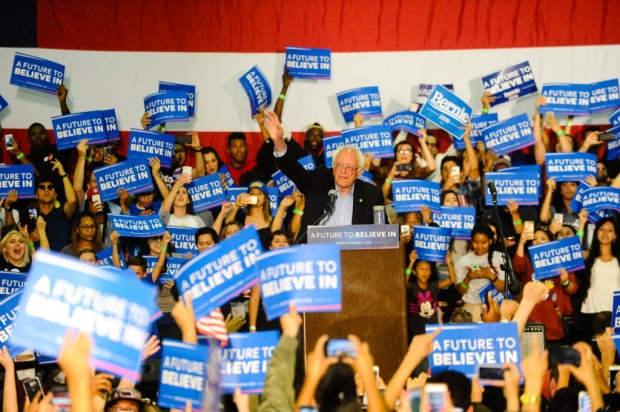 Then-Democratic presidential candidate Bernie Sanders speaks to supporters at a San Bernardino rally in May 2016.