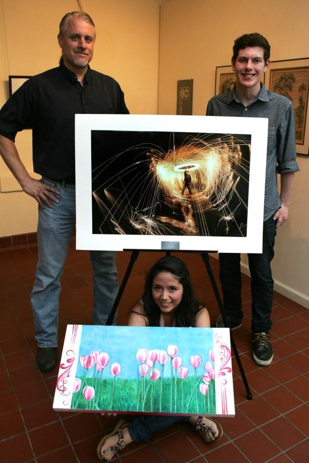 Scott Hudson, left, teaches visual arts at Fullerton Union High School. (Photo by Karen Tapia, contributing photographer)