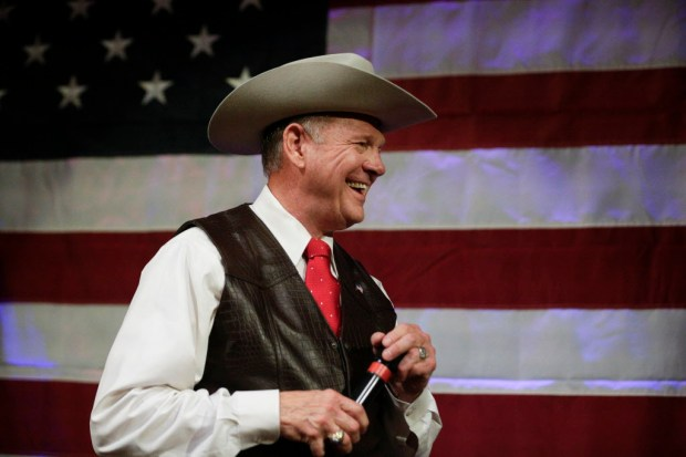 Former Alabama Chief Justice and U.S. Senate candidate Roy Moore speaks at a rally Monday, Sept. 25, 2017, in Fairhope, Ala. (AP Photo/Brynn Anderson)