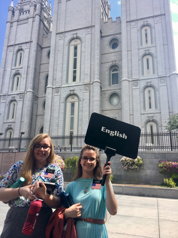 Young Mormon missionaries offer free tours of Utah's Temple Square in numerous languages. Credit: Marla Jo Fisher, Orange County Register