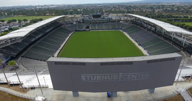 Aerial view of the StubHub Center in Carson, California, on Wednesday, September 13, 2017. The StubHub Center is the home of the Los Angeles Galaxy soccer team and the temporary home of the Los Angeles Chargers.(Photo by Jeff Gritchen, Orange County Register/SCNG)