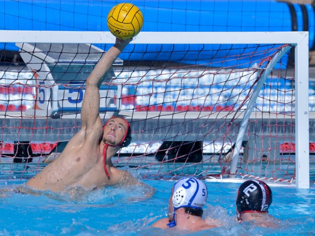 Harvard Westlake, with USC-bound goalie Sam Krutonog, hosts the S&R Elite Water Polo tournament beginning Thursday (photo by John McCoy/Los Angeles News Group)