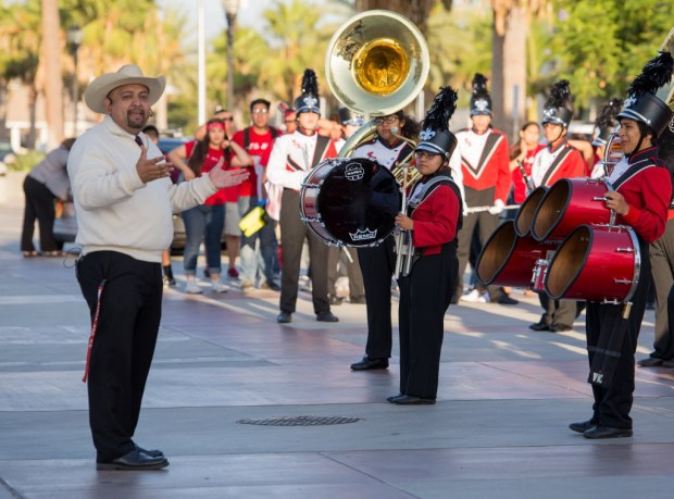 Victor De Los Santos, left, teaches instrumental music at Santa Ana High School. (Photo by Leonard Ortiz, Orange County Register/SCNG)