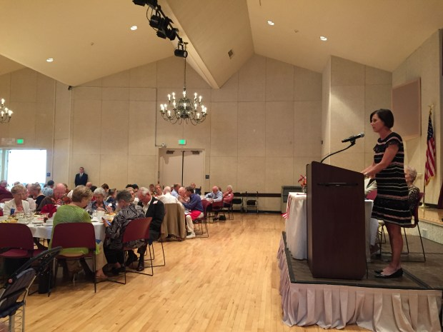 Rep. Mimi Walters, R-Laguna Beach, speaks to some 150 Laguna Woods residents at the Republican Club's meeting on Friday, Sept. 22. (Photo by Emily Rasmussen, contributing photographer)