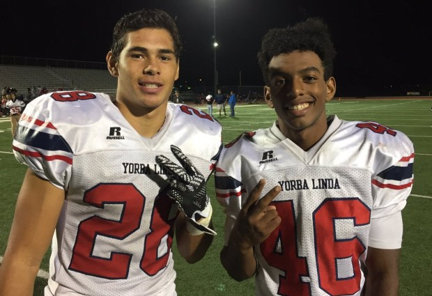 Yorba Linda running backs Jaydyn Webb and Jonah Slack combined for four touchdowns in a 28-10 victory over El Dorado on Friday. (Photo by Daniel Hernandez, Contributor)