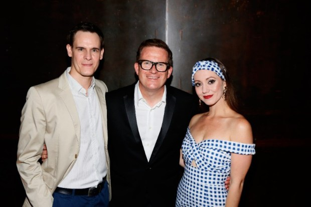"""Directed and choreographer Matthew Bourne, center, at the opening night performance of """"The Red Shoes"""" at Center Theatre Group/Ahmanson Theatre on Tuesday, September 19, 2017, in Los Angeles, California. (Photo by Ryan Miller/Capture Imaging)"""