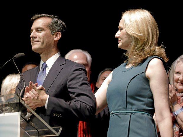 LA Mayor Eric Garcetti and wife Amy Wakeland. (AP file photo/Chris Carlson)
