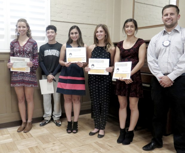 Joe Horzen, right, president-elect of the Rotary Club of Redlands, with September 2017 Students of the Month, from left, Isabelle Swanson, Daniel Aragon, Ashley Samaan, Natalie Zander and Skye Blee. (Photo by Mark Heideman, Rotary Club of Redlands)