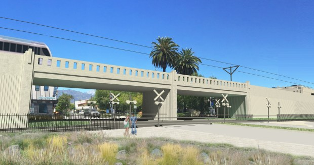 The original bridge rendering, from 2016, was rejected by Claremont leaders. (Courtesy art)
