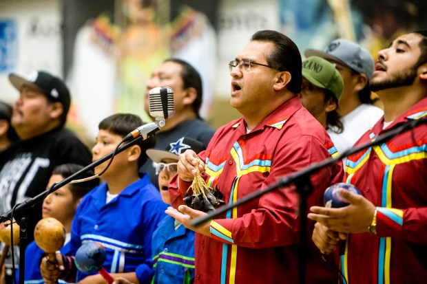 Bird singers perform an opening ritual during the 22nd Annual San Manuel Pow Wow at Cal State San Bernardino on Friday, Oct. 13, 2017. (Photo by Watchara Phomicinda, The Press-Enterprise/SCNG)