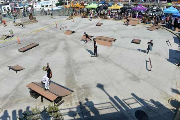 Dozens of skateboarders descended on the Redondo Beach pier for the Police Department's inaugural King of the Harbor Skateboarding Championships. Redondo Beach October 14, 2017. Photo by Brittany Murray, Daily Breeze/SCNG