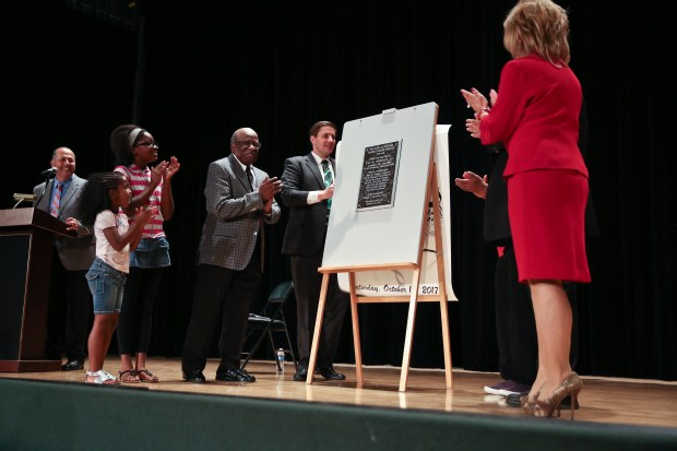 The Norwalk-La Mirada Unified School District dedicates a plaque to Lee Mitchell, a retired band director and the first African-American teacher in the district on Saturday, Oct. 14, 2017. (Photo by Shilah Montiel for SCNG)