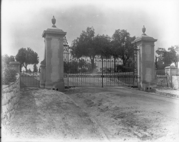 The Stokes entrance gate at Hillside Memorial Park in Redlands. (Photo Courtesy of Tom Atchley)