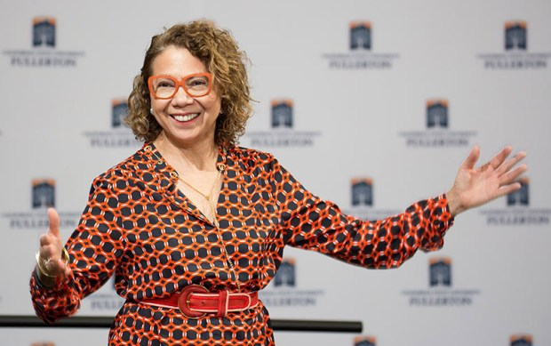 President Mildred García spoke at the Oct. 6 BOLD Women's Leadership Network inaugural summit earlier this month. (Photo courtesy of Cal State Fullerton)