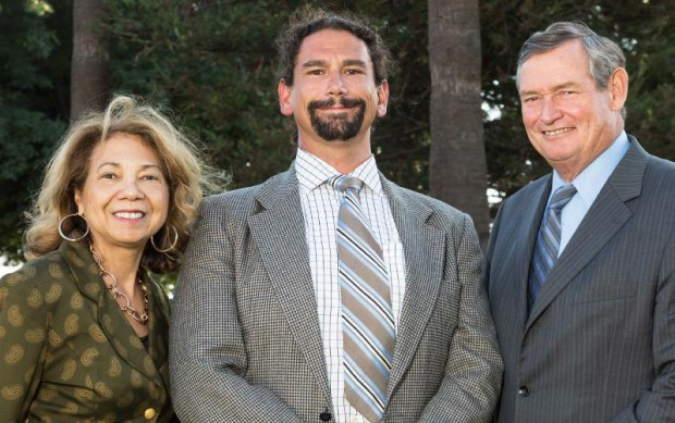 CSU Trustees' Award winner Matthew Kessler, center, with CSUF President Mildred García and CSU Chancellor Timothy P. White at the recent awards reception. (Photo courtesy of Cal State Fullerton)