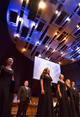 Cal State Fullerton's University Singers took the stage with the Pacific Symphony Oct. 6-7 as part of the Harry Potter Film Concert Series. (Photo courtesy of Cal State Fullerton)