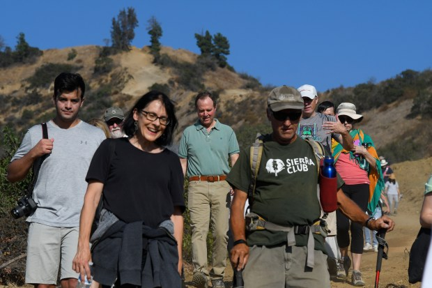 Rep. Adam Schiff announced that he is re-introducing in Congress his Rim of the Valley Corridor Preservation Act. The congressman then took a group of his constituents on a hike up into the Verdugo Mountains behind the Brand Park Library. Glendale, CA 10/18/2017 (Photo by John McCoy, Los Angeles Daily News/SCNG)