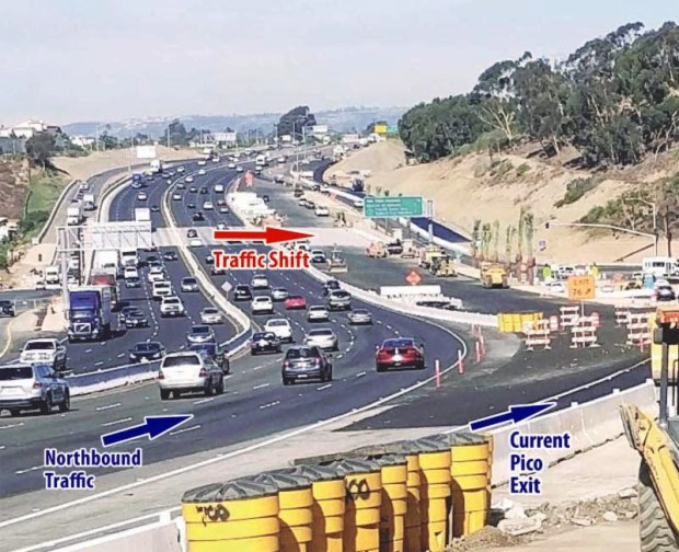 This is the northbound lane shift scheduled to take place at 5 a.m. Monday, Oct. 23, onto a widened I-5 bridge over Avenida Pico in San Clemente. (Courtesy of OCTA)