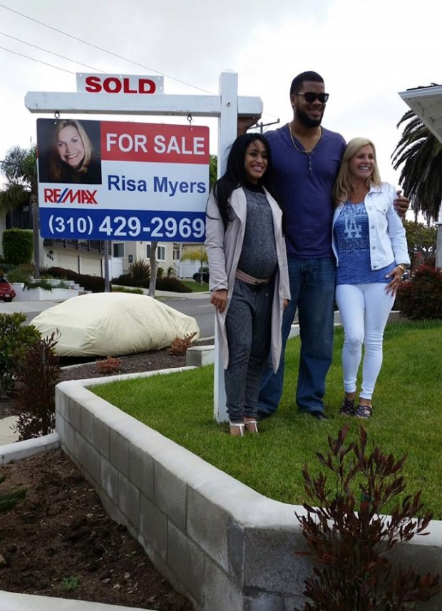 Kenley Jansen, his wife, Gianni, and Realtor Risa MyersCourtesy of Risa Myers