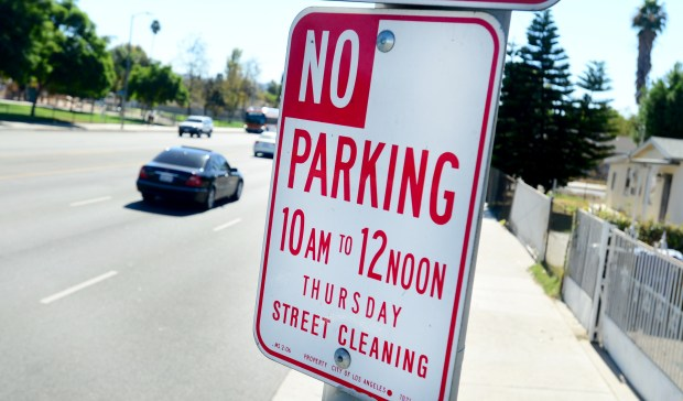 A sign warning no parking on Thursday's for street cleaning on DeSoto Avenue in Canoga Park, CA. on Wednesday, October 25, 2017.  (Photo by Dean Musgrove, Los Angeles Daily News/SCNG)