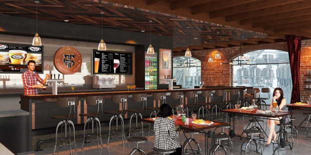 TAPS Brewery & Barrel Room is expected to open in January with a European brewing system that has the capacity to produce up to 25,000 barrels a year. (Rendering Courtesy TAPS)