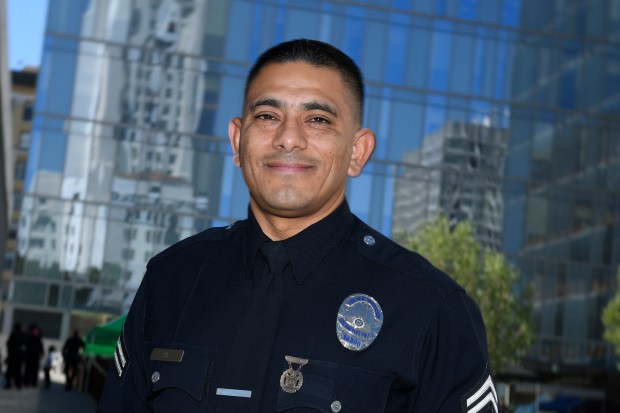 Officer Johnny Gil, who is assigned to LAPD's Training Division, is one of about 40 police officers involved in a pilot program launched by LAPD with USC that aims to help officers reduce violence and build community trust. The Law Enforcement Advanced Development Program was launched in June.Los Angeles, CA 10/26/2017 (Photo by John McCoy, Los Angeles Daily News/SCNG)